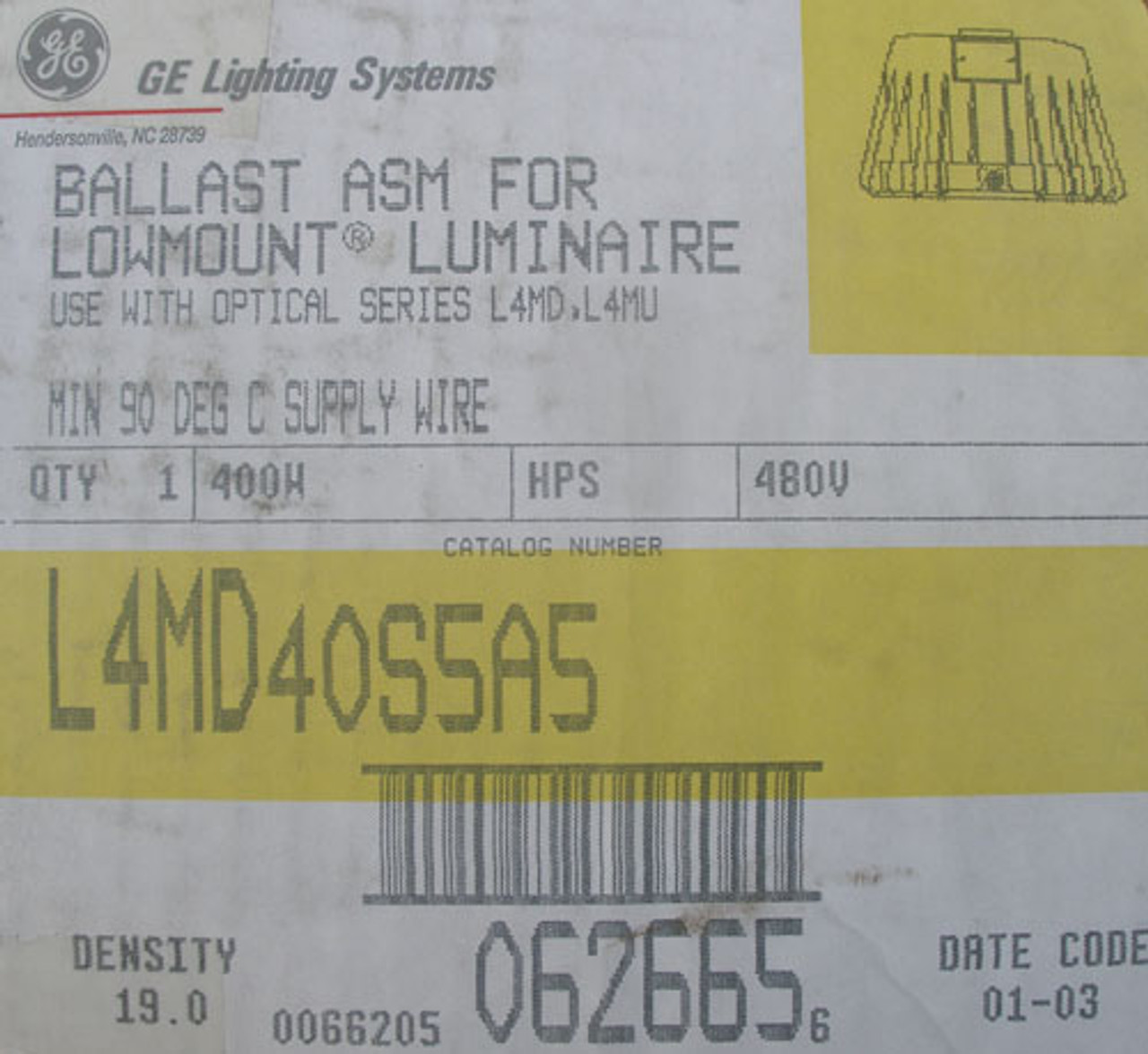 GE L4MD40S5A5 400W 480V Ballast ASM for Lowmount Luminaire in Gray