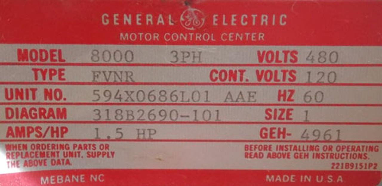 GE Model 8000 Size 1 Motor Control Bucket FVNR 3PH 480V 1.5Hp - Used