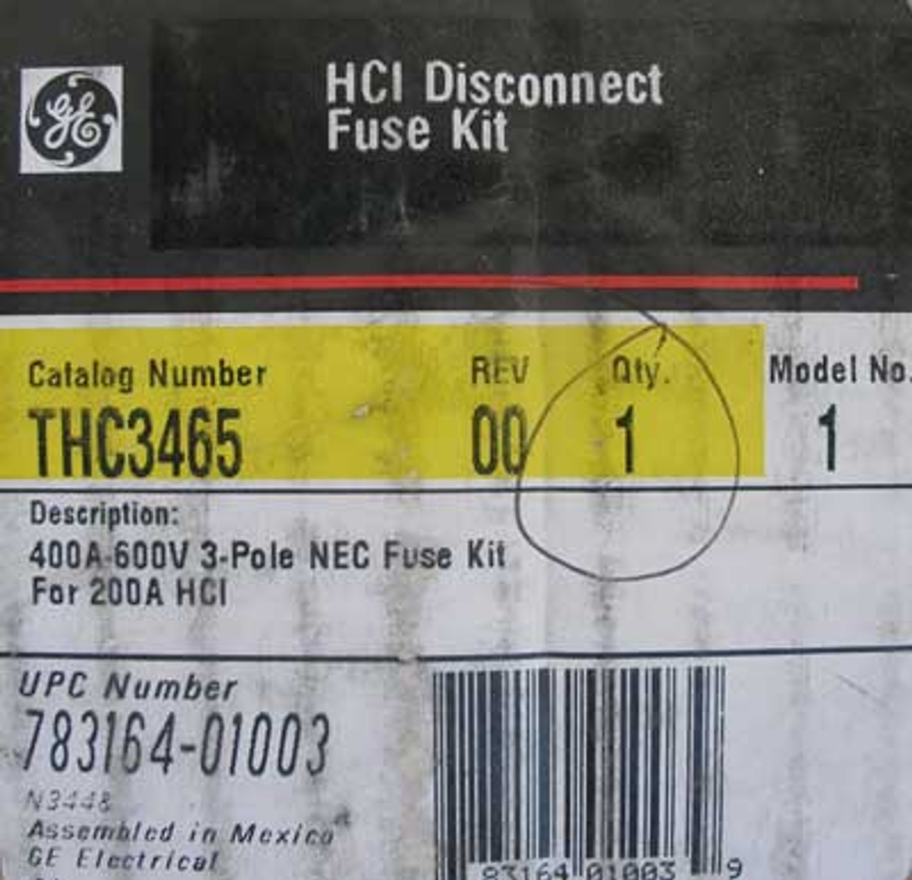 GE THC3465 3 Pole 400 Amp 600V HCI Disconnect Fuse Kit