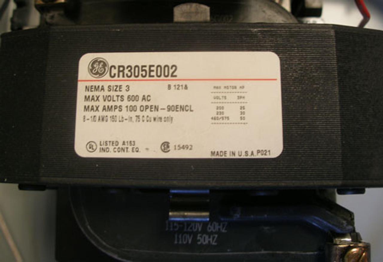 General Electric CR308E112EAFA Size 3 Magnetic Starter 90A 600V 3PH N1
