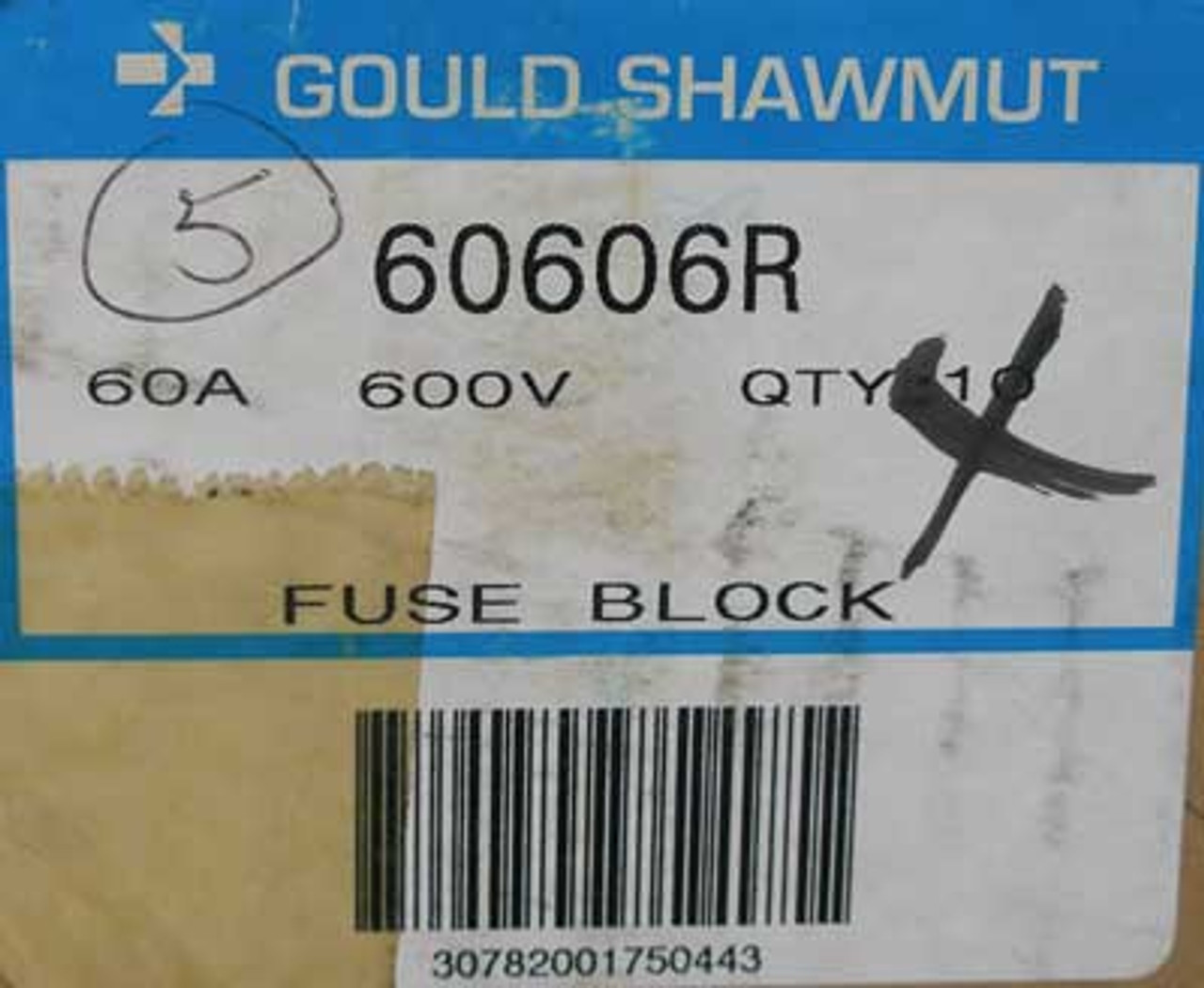 Gould Shawmut 60606R 1 Pole 60 Amp 600VAC Fuse Block (Lot of 5) - New