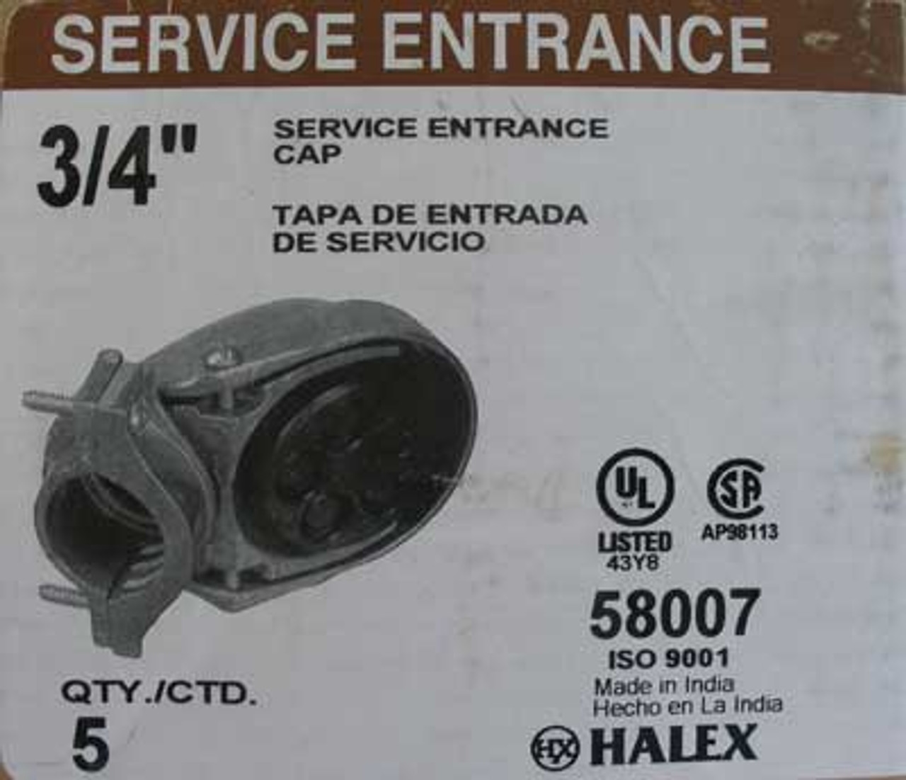"Halex 58007 Clamp-on Service Entrance Cap, 3/4"" (Lot of 4)"
