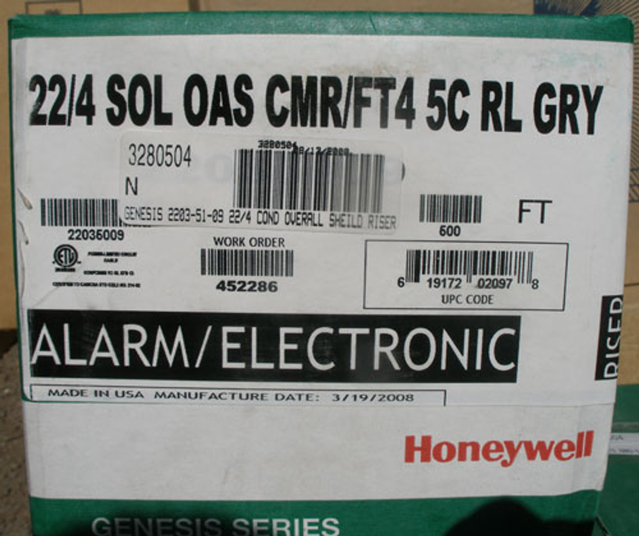 Honeywell 22/4 SOL OAS CMR/FT4 5C RL GRY 500 Ft Cabling Wire