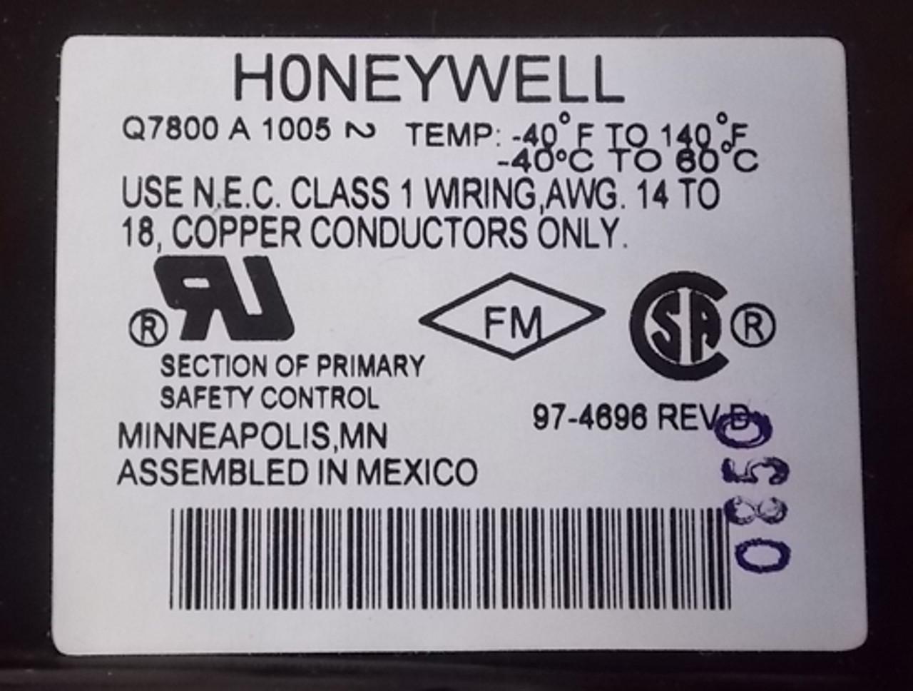 Honeywell Q7800A 1005 Universal Wiring Subbase Panel Mount - New