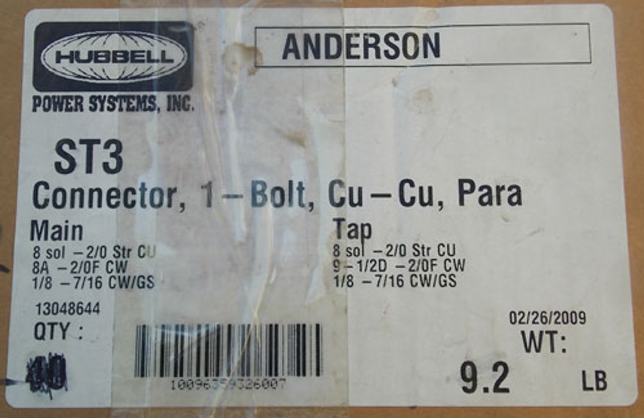 Hubbell Anderson ST3 Bronze Center Bolt Parallel Groove Connector - New