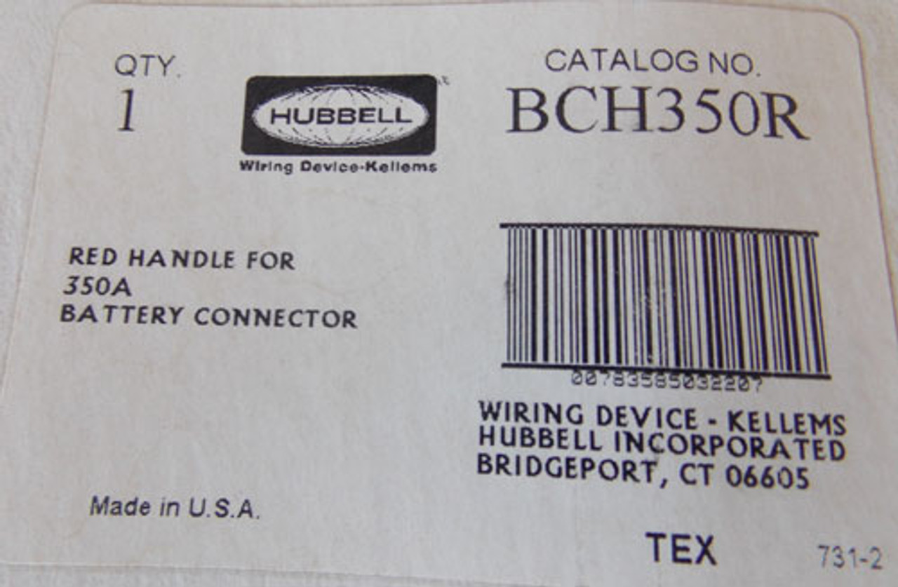 Hubbell BCH350R Red Handle for 350A Battery Connector - New