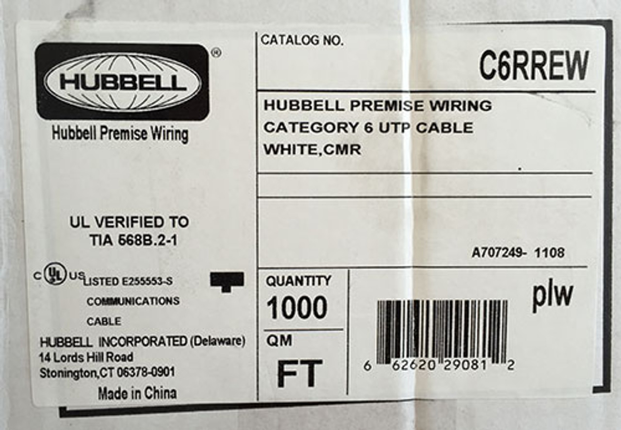 Hubbell C6RREW Premise Wiring Cable Cat 6 UTP White CMR 1000'