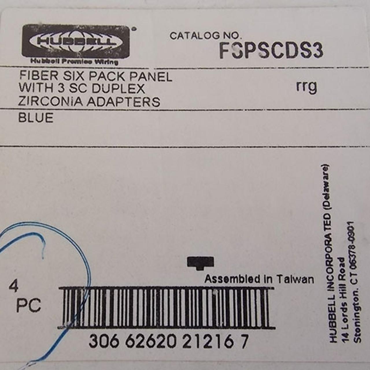 Hubbell FSPSCDS3 Blue 6 Fiber Pack Panel w/3 SC Duplex Zirconia Adapter - New
