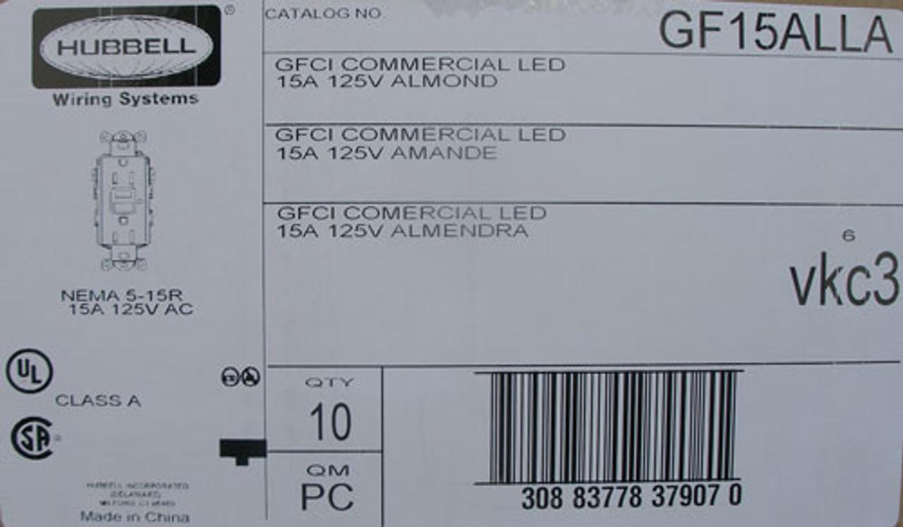 Hubbell GF15ALLA GFCI Duplex Receptacle 15A 125V AC Nema 5-15R