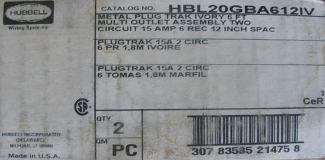 Hubbell HBL20GBA612IV 6ft 2-Circuit 15A 6 Rec Metal PlugTrak Ivory (Lot of 2)