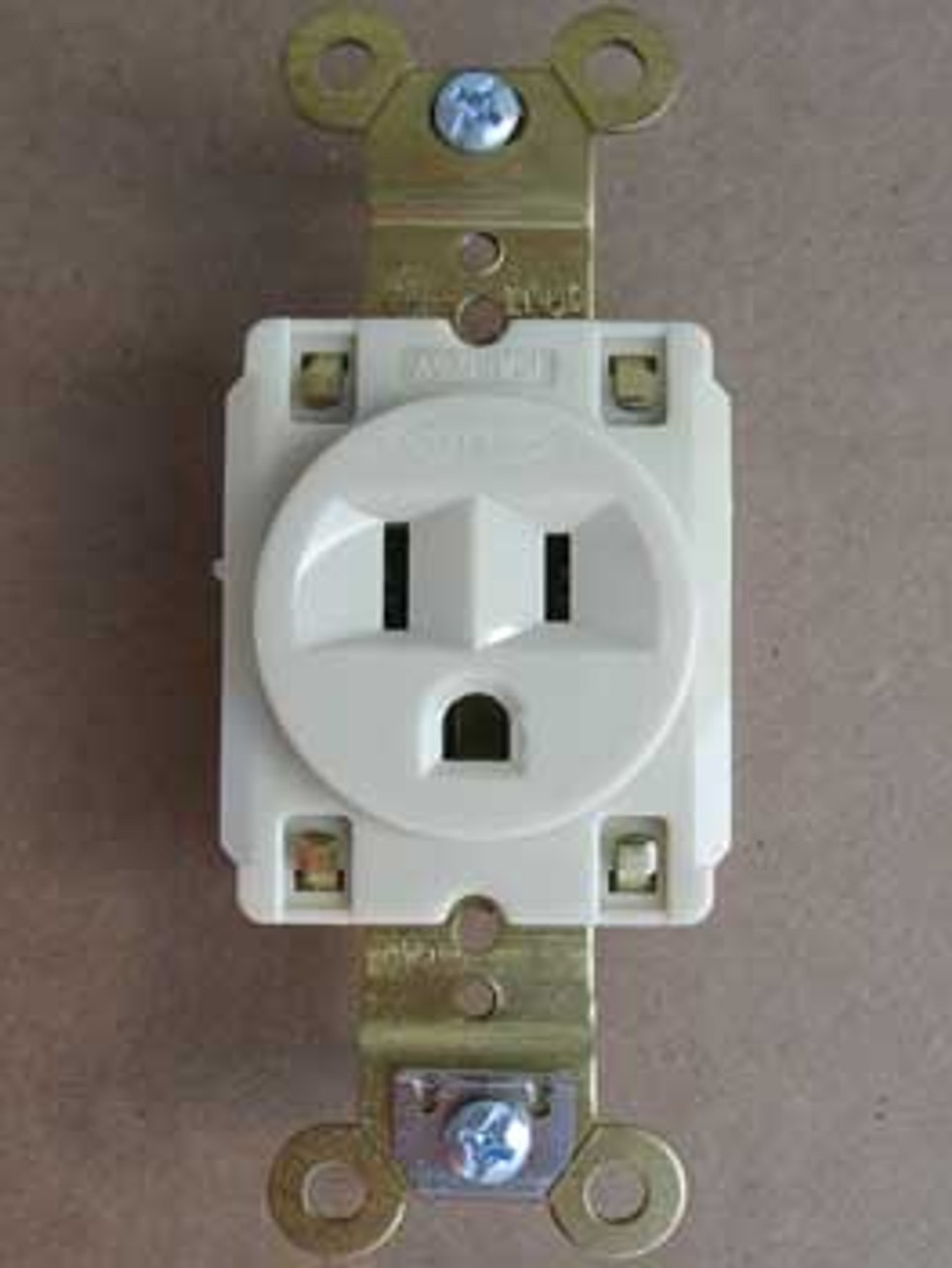 Hubbell HBL5261I  2 Pole 3 Wire 15 Amp 125V Ivory Single Receptacle