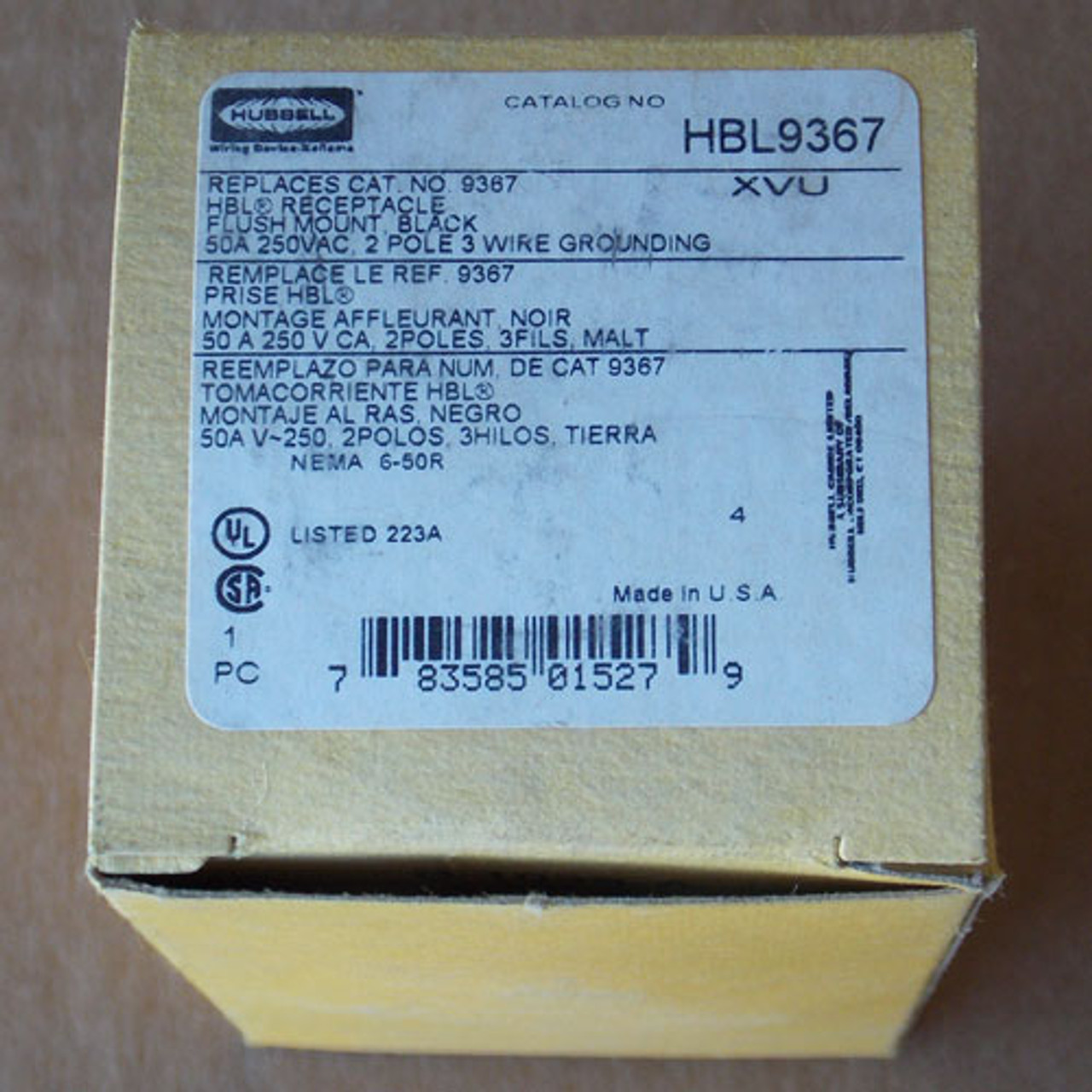Hubbell HBL9367 50A 250V 2P3W Flush Mount Receptacle Black - New