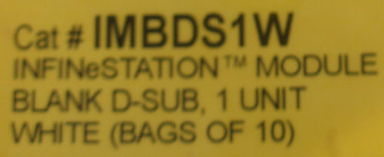 Hubbell IMBDS1W Infin-e-station Module Blank, D-Sub 1 Unit White (Lot of 10)