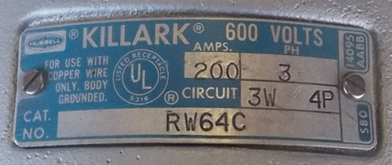 Hubbell Killark RW64C 200A 3PH 3W 4P 600V Receptacle without Cover - Used