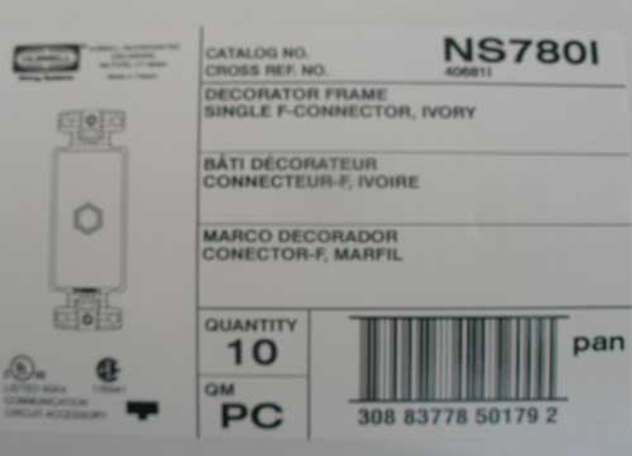Hubbell NS780I Decorator Plate Frame with Single F Connector, Ivory (Lot of 5)