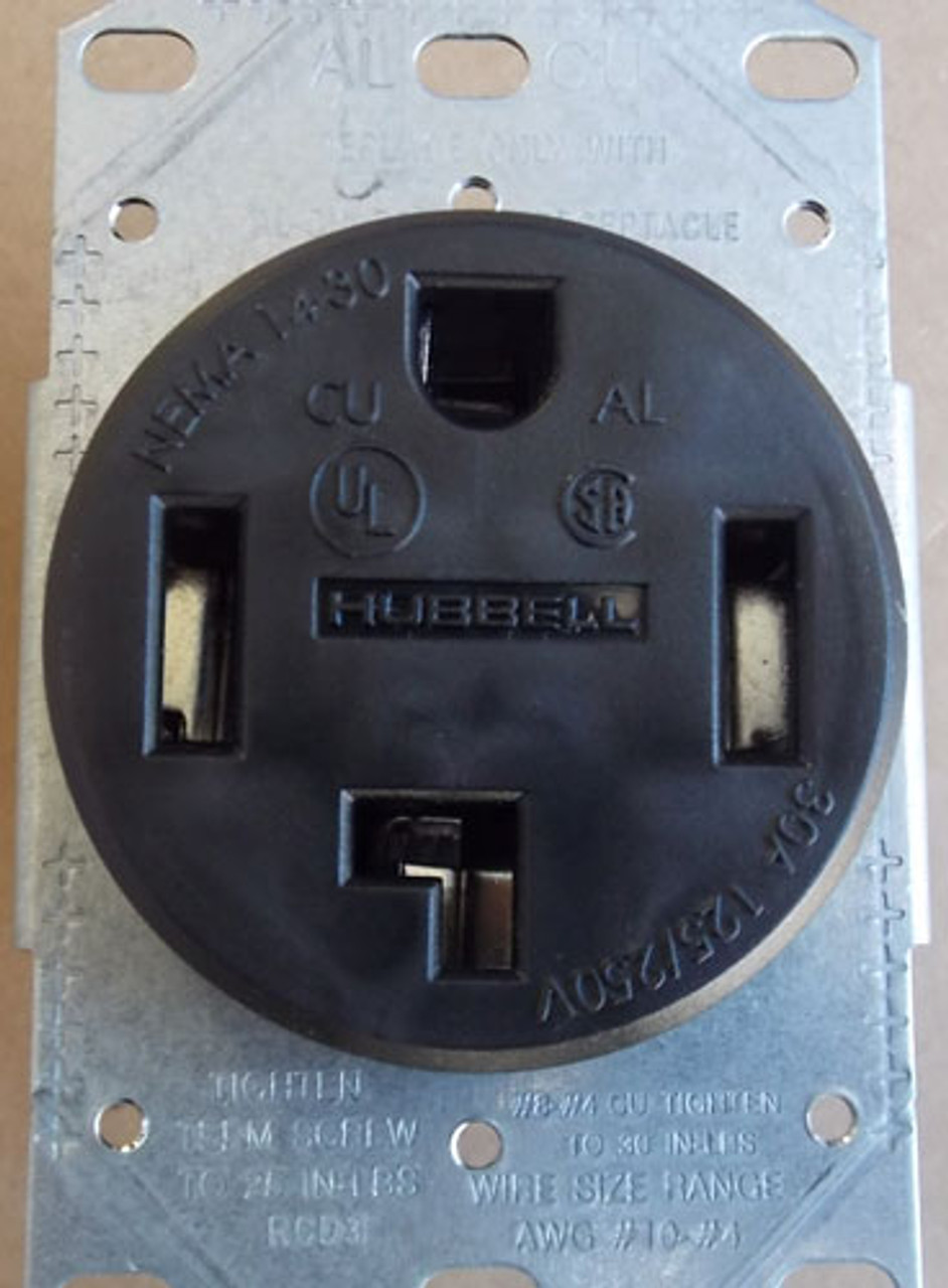 Hubbell RR430F 30A 125/250V 3P 4W Flush Power Receptacle in Black (Lot of 2)