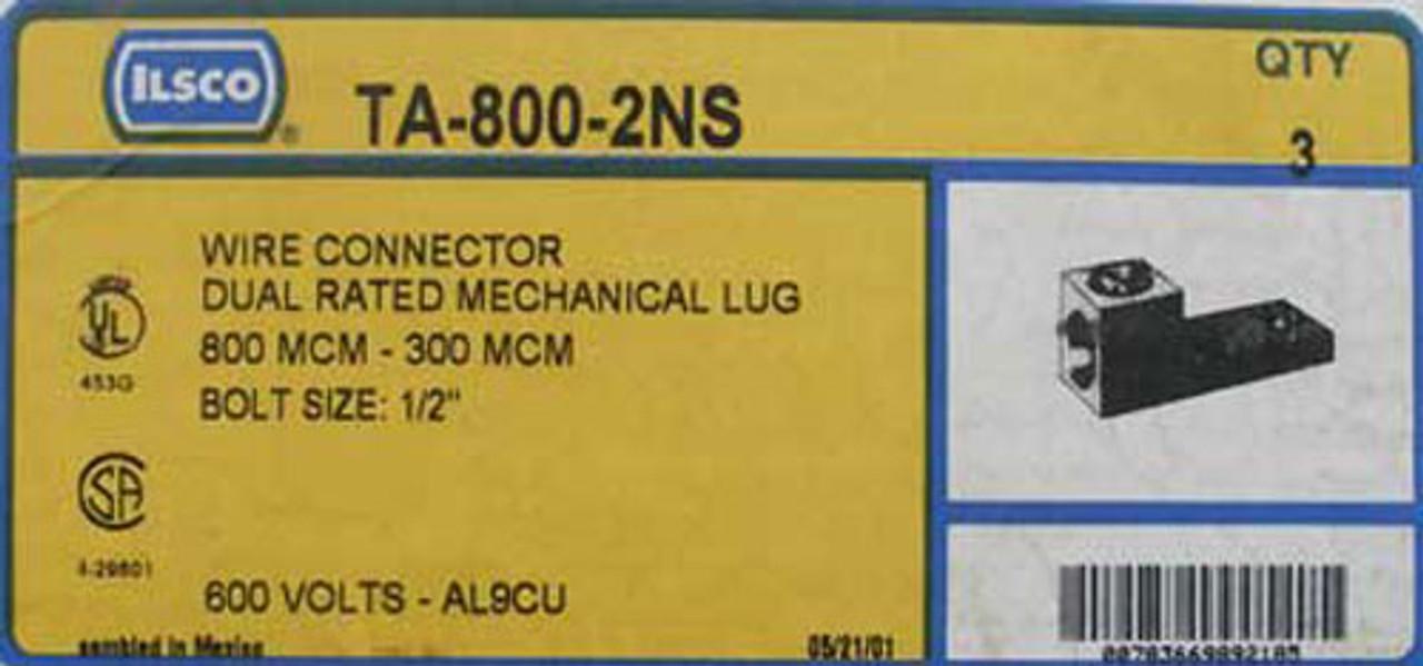 Ilsco TA-800-2NS Wire Connector 600V AL9CU (Lot of 3)