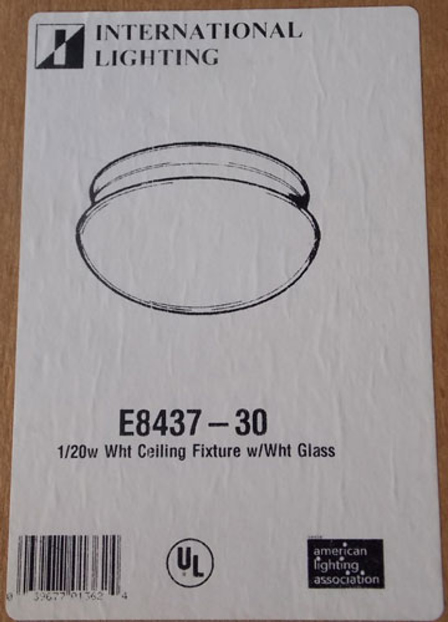 International E8437-30 1 Light Flush Mount Ceiling Fixture 20W White