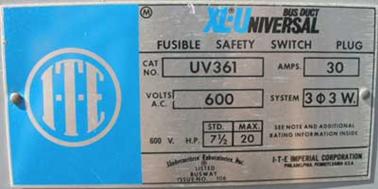 ITE Gould UV 361 Fusible Busduct Switch 30A 600V 3 Pole 3 Wire - Used