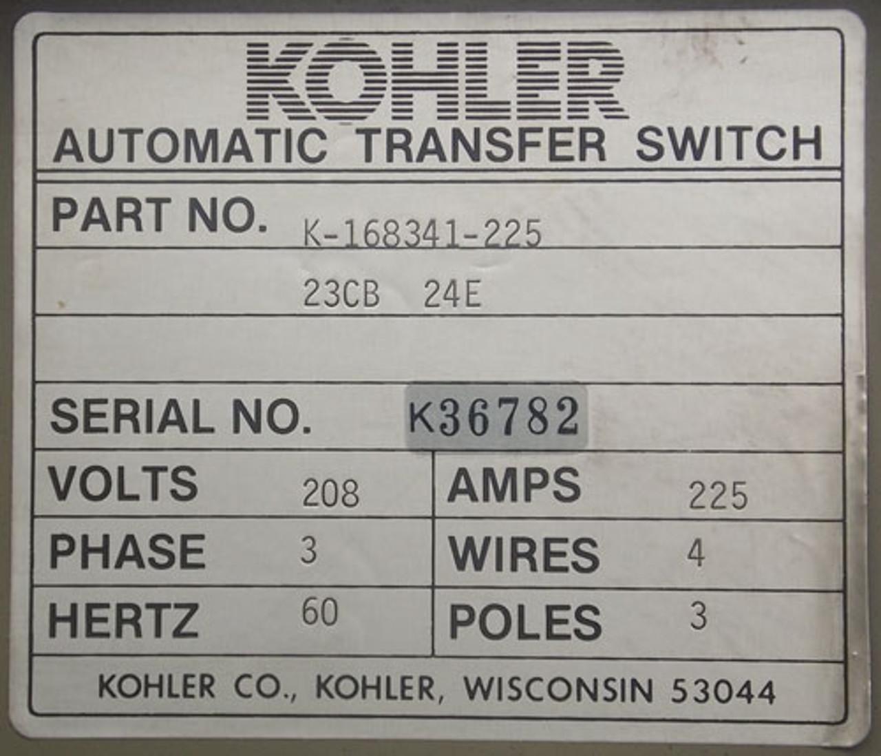 Kohler K-168341-225 3 Phase 4 Wire 225A 208V Automatic Transfer Switch - Used