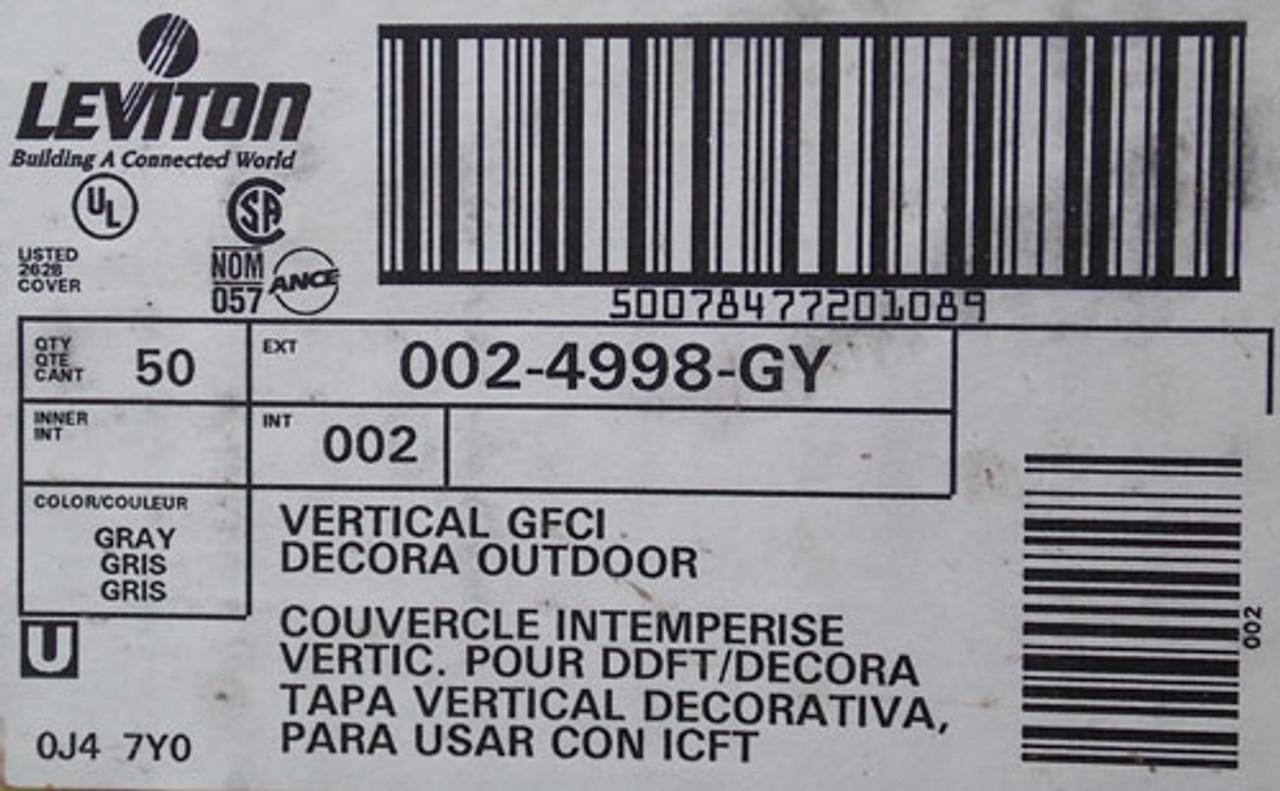 Leviton 002-4998-GY Large Duplex 1-Gang Receptacle GFCI Wallplate - Gray