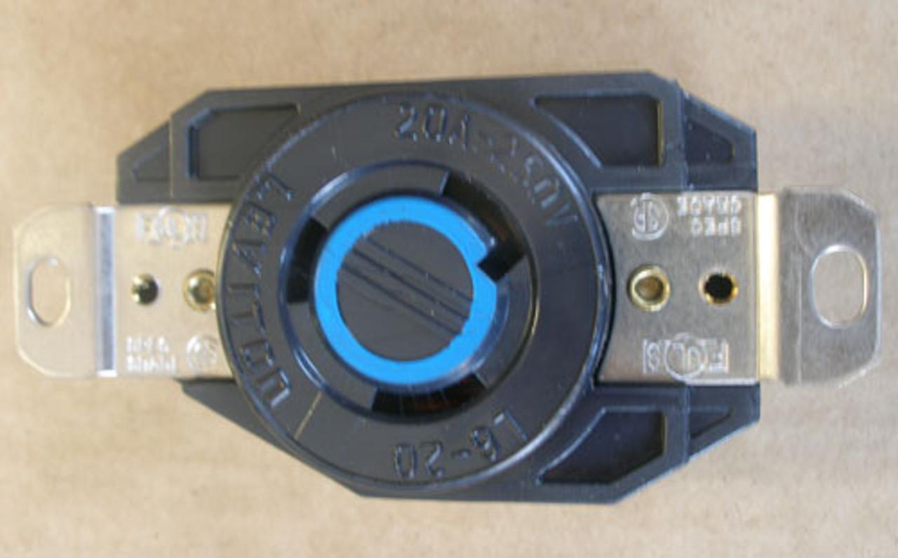 Leviton 2Pc 2320 20A 250V 2P 3W Single Lock Receptacle Ground, Black