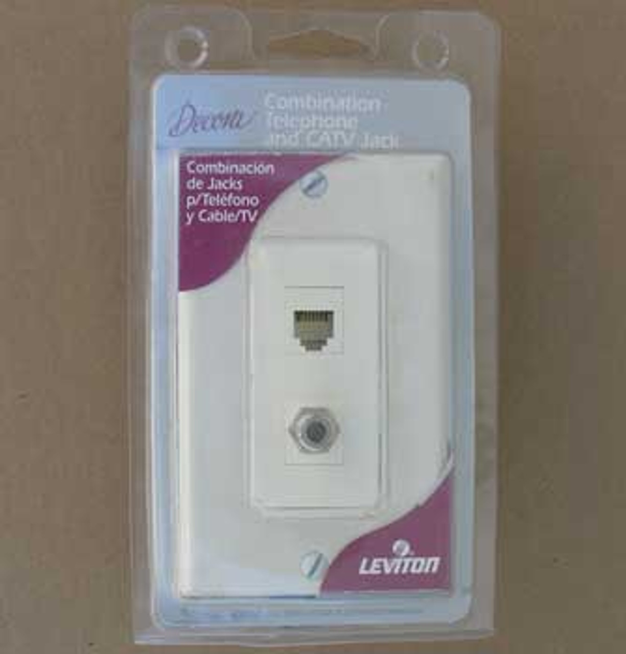 Leviton 41658 Combination Telephone & CATV Jack w/ Wall Plate (Lot of 3)
