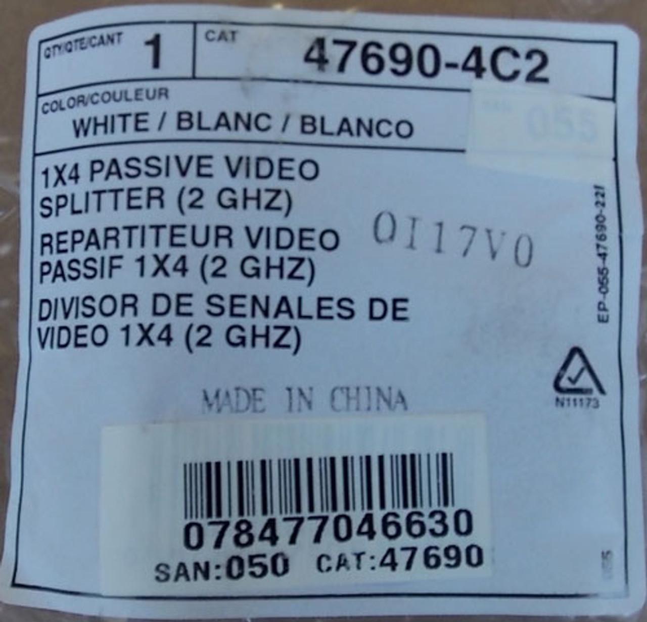 Leviton 47690-4C2 1X4 Passive Video Splitter 2GHZ 75 Ohm in White