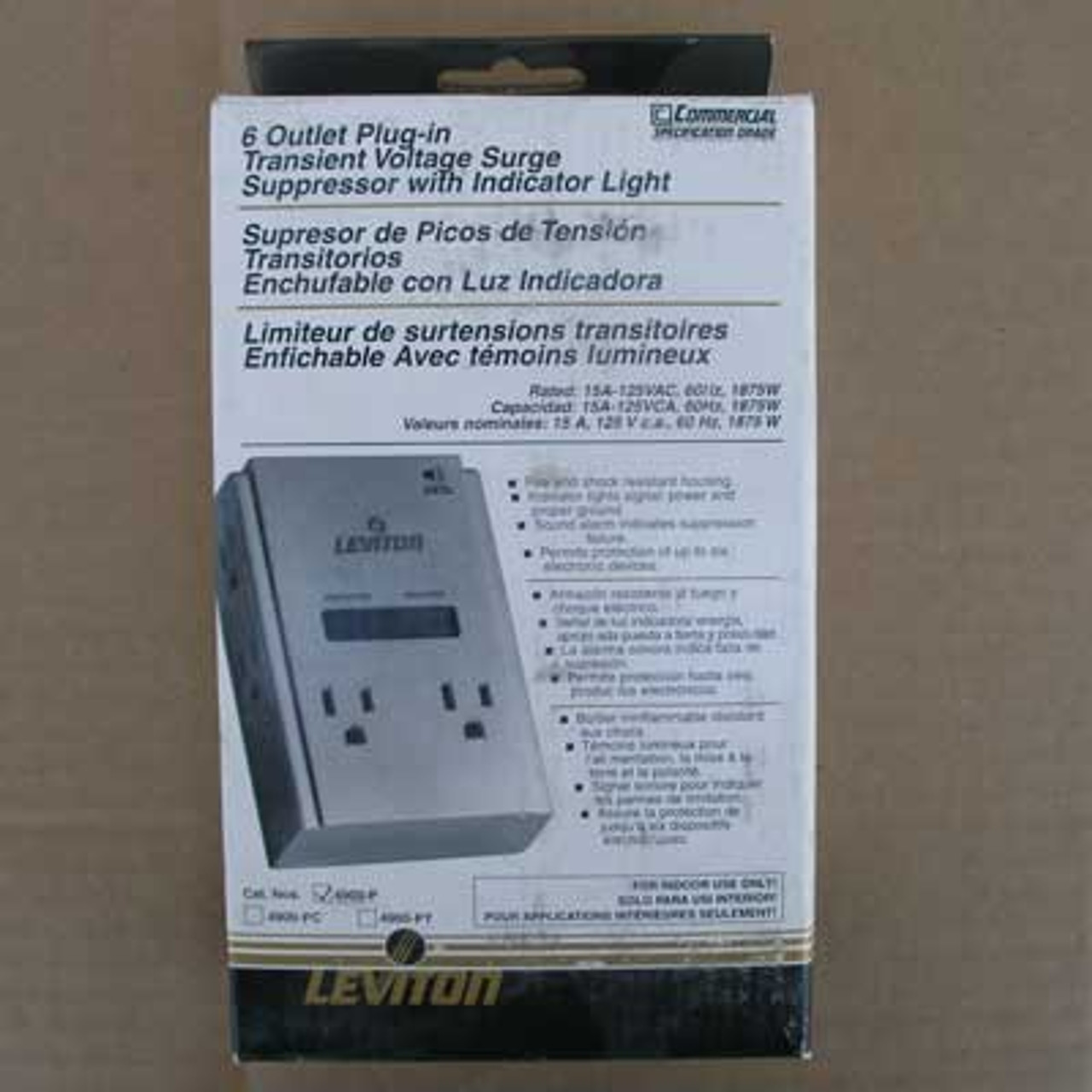 Leviton 4900-P Surge Protected 6-Outlet Adapter 15 Amp 125VAC