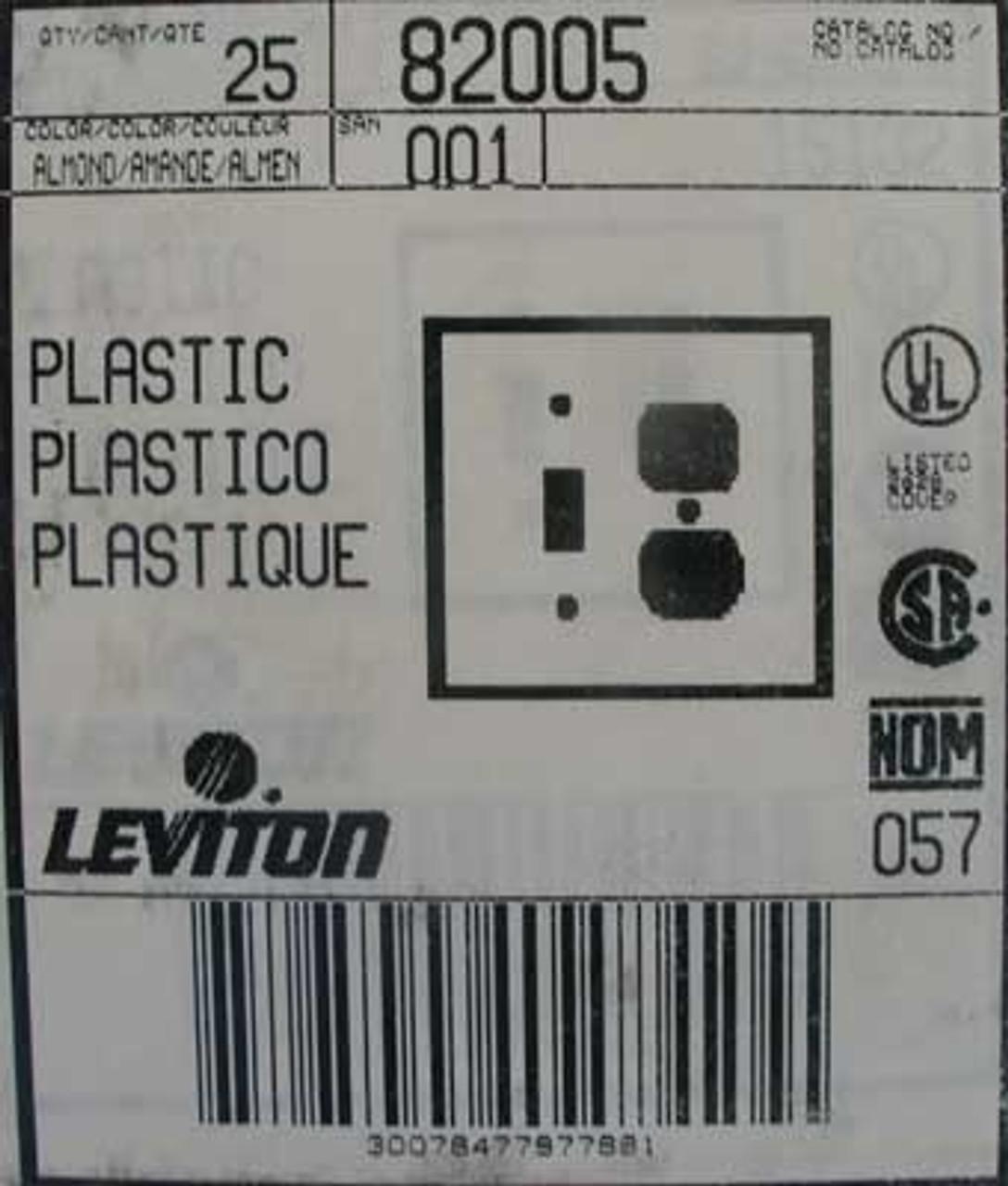 Leviton 82005 2 Gang 1 Toggle 1 Duplex Wallplate (Lot of 25)