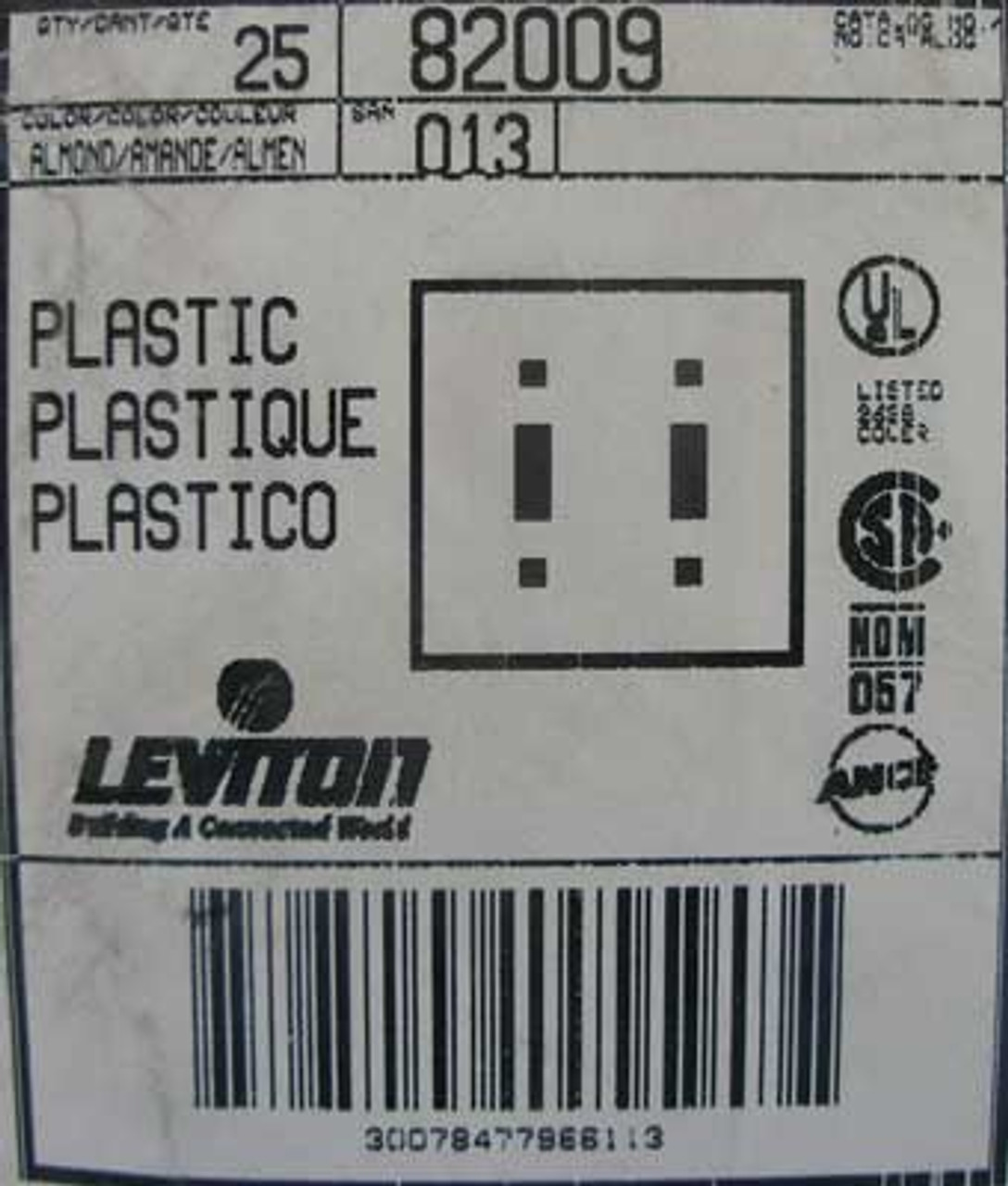 Leviton 82009 2-gang Toggle Wall Plate Almond (Lot of 25)