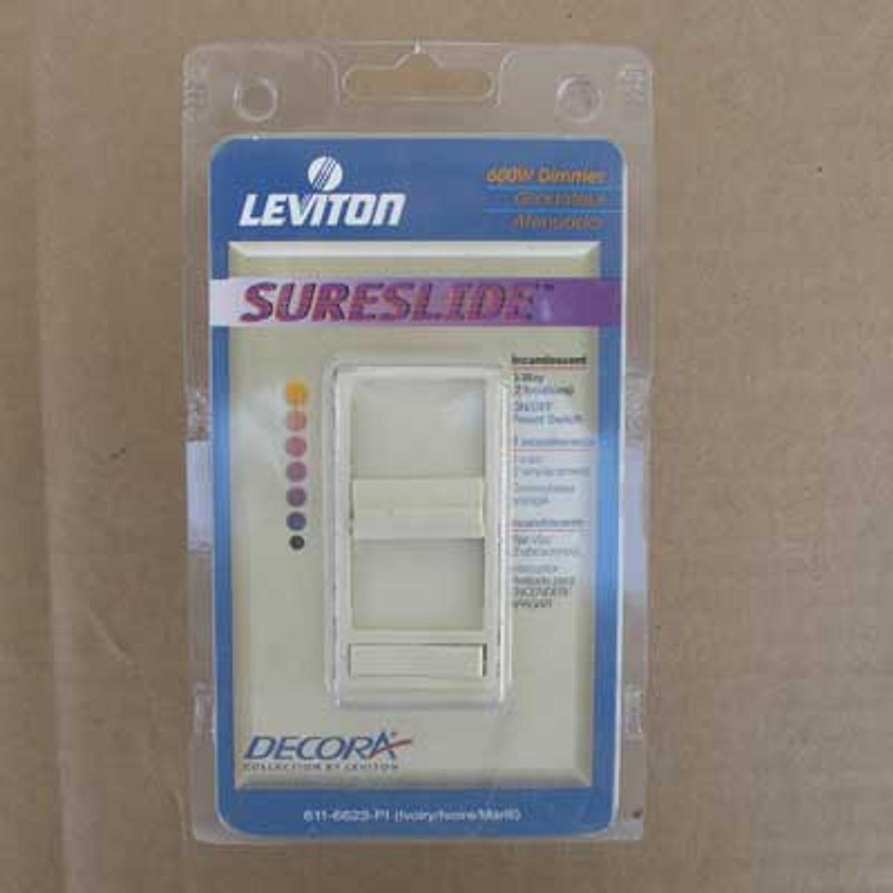 Leviton Decora 611-6623-PI 600W 3 Way SureSlide Dimmer