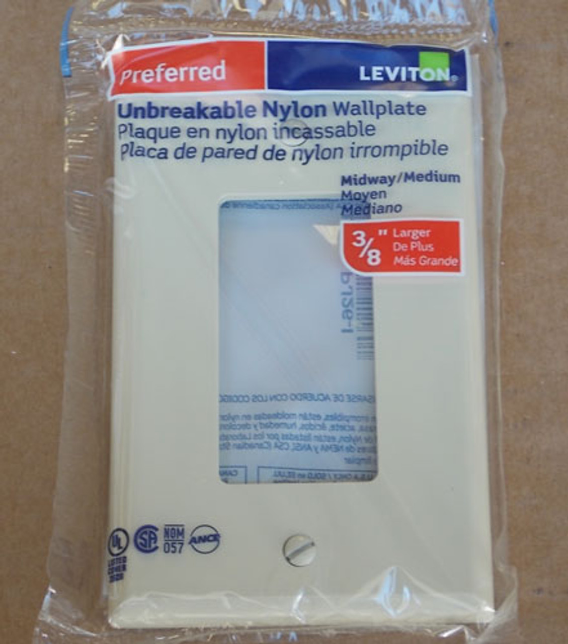 Leviton R51-PJ26-I 1 Gang Midway Unbreakable Nylon Wallplate Ivory (Lot of 30)