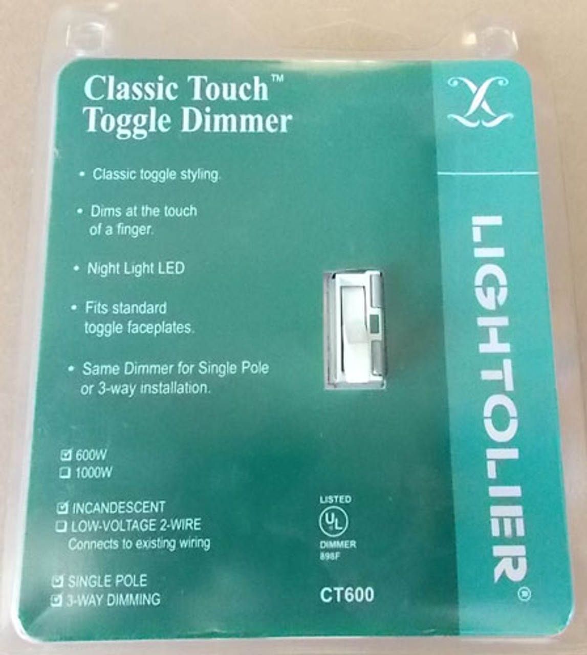 Lightolier CT600-W Classic Touch Toggle Dimmer 3-Way 600W Incand White - New