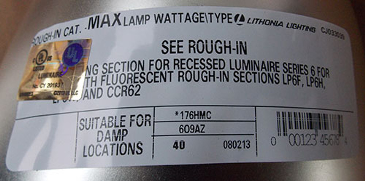 "Lithonia Lighting 176HMC 6"" Reflector - New"