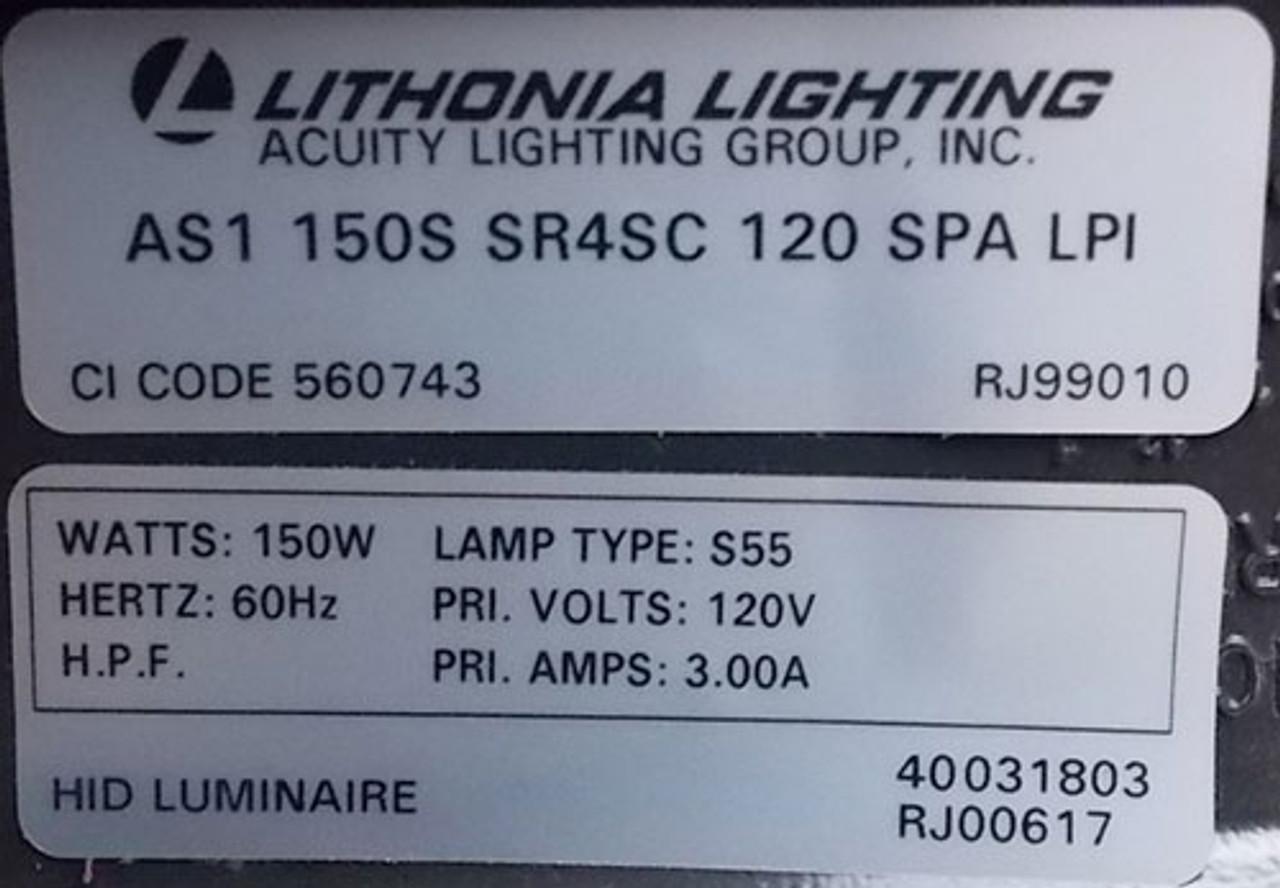 Lithonia Lighting AS1 150S SR4SC 120 SPA LPI 150W 120V S55  Fixture - New