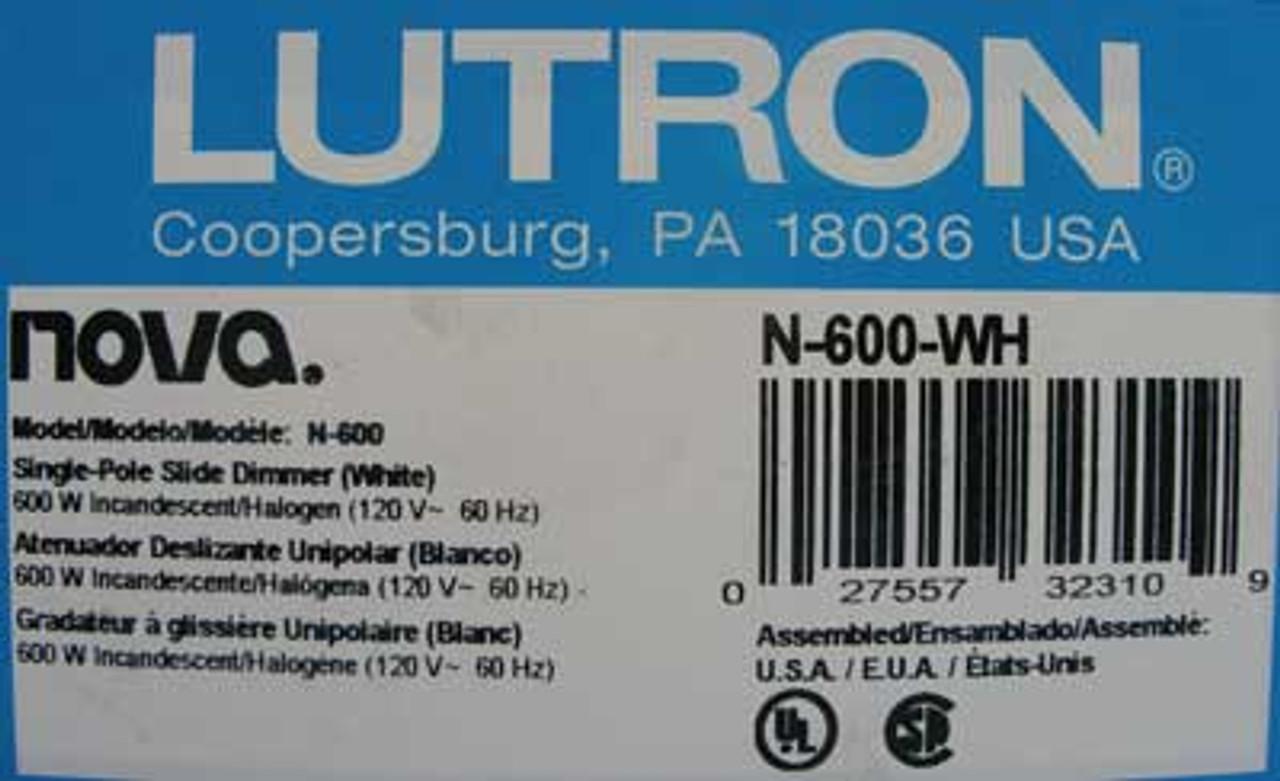 Lutron N-600-WH Single Pole Incandescent Slide Dimmer 600W 120V