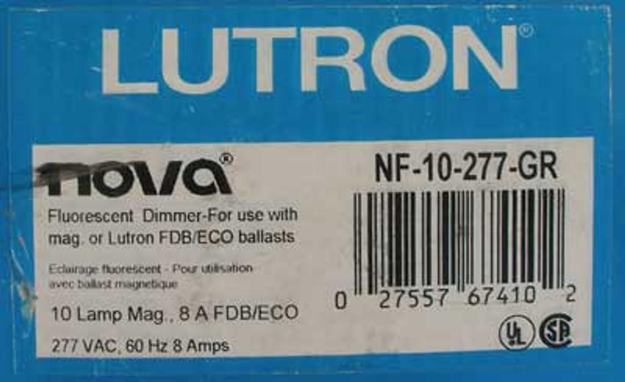 Lutron Nova NF-10-277-GR Single Pole Fluorescent Dimmer Grey - New