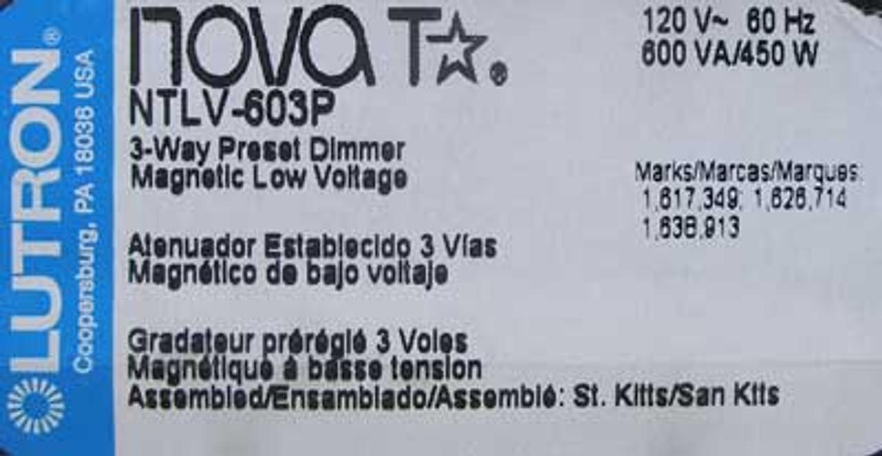 Lutron NTLV-603P-IV Nova T 3-Way Preset Dimmer 600VA/450W 120V
