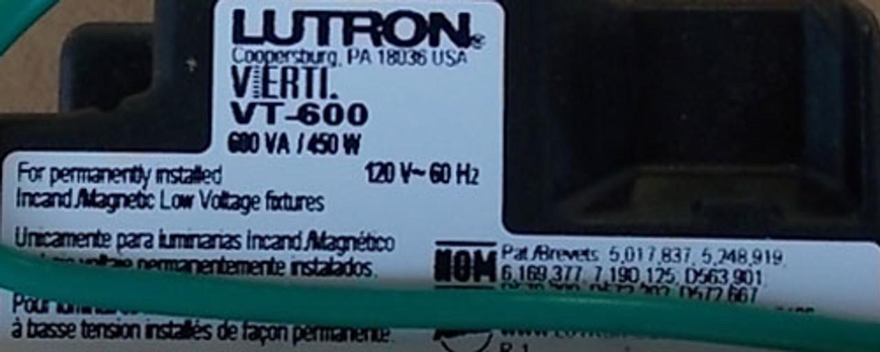 Lutron VT-600-G-LA 600W 120V 1P Dimmer Green LED Lt Almond Wallplate