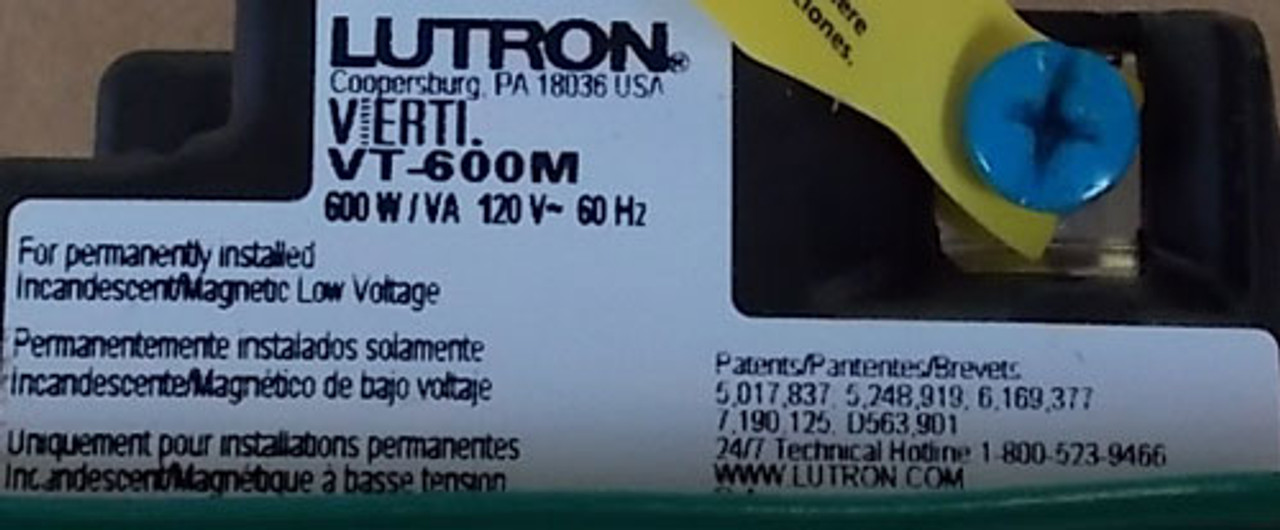 Lutron VT-600M-G-WH 600W 120V VA Dimmer Green LED w/ White Wallplate - New