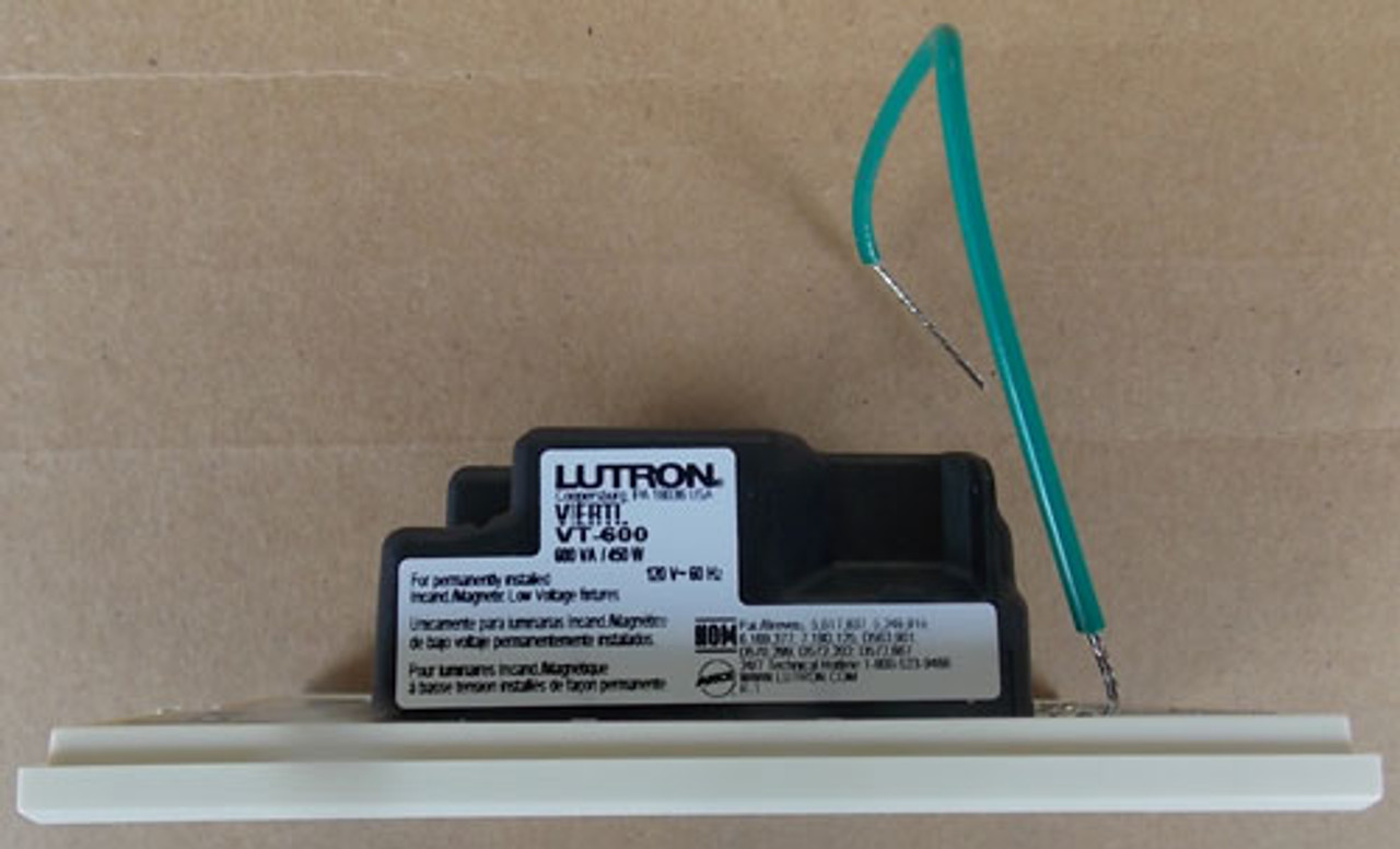 Lutron VT-600-W-LA 600W 120V 1P Dimmer White LED with Lt. Almond Wallplate