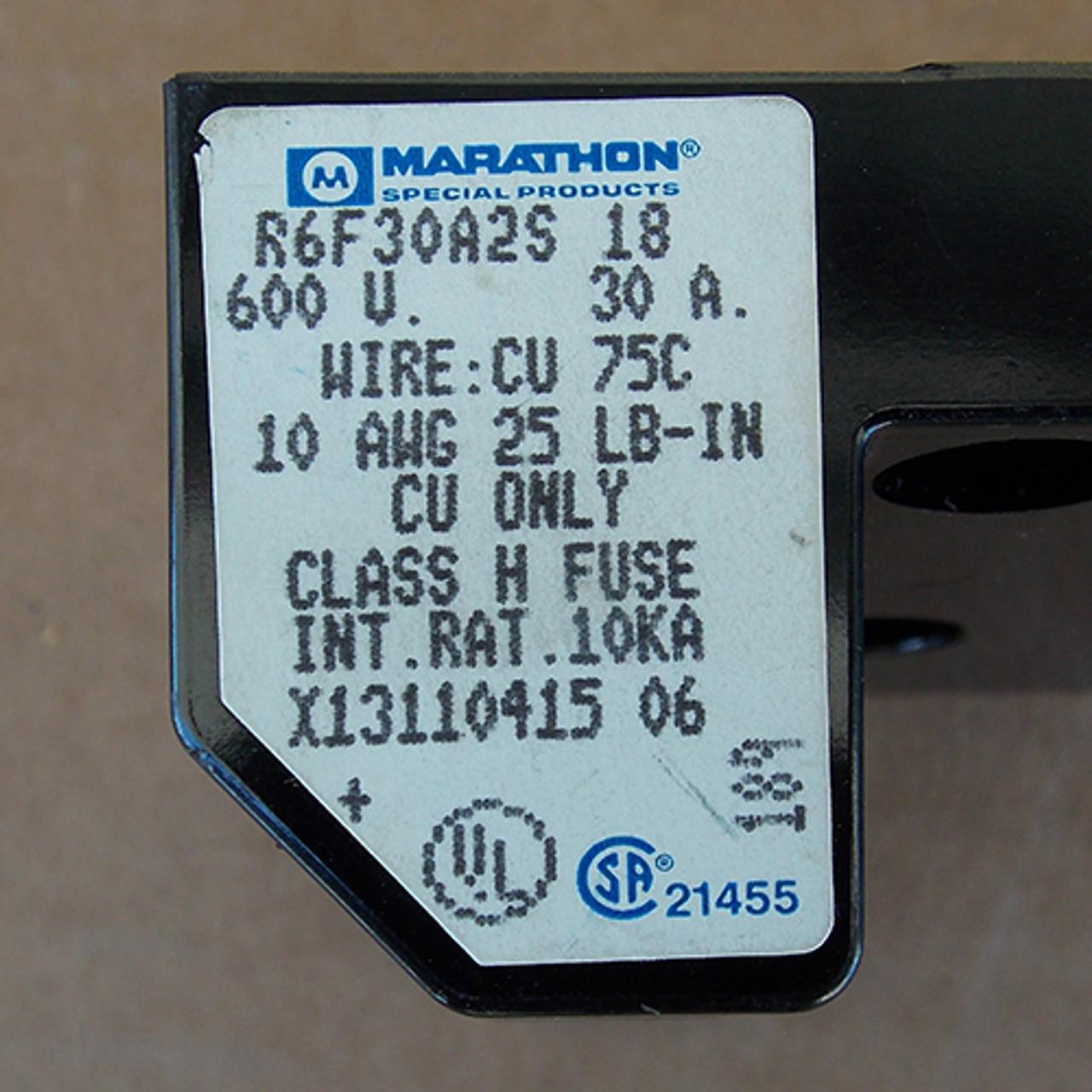 Marathon R6F30A2S Fuse Block 2 Pole 30 Amp 600 Volts Class H Distribution - Used
