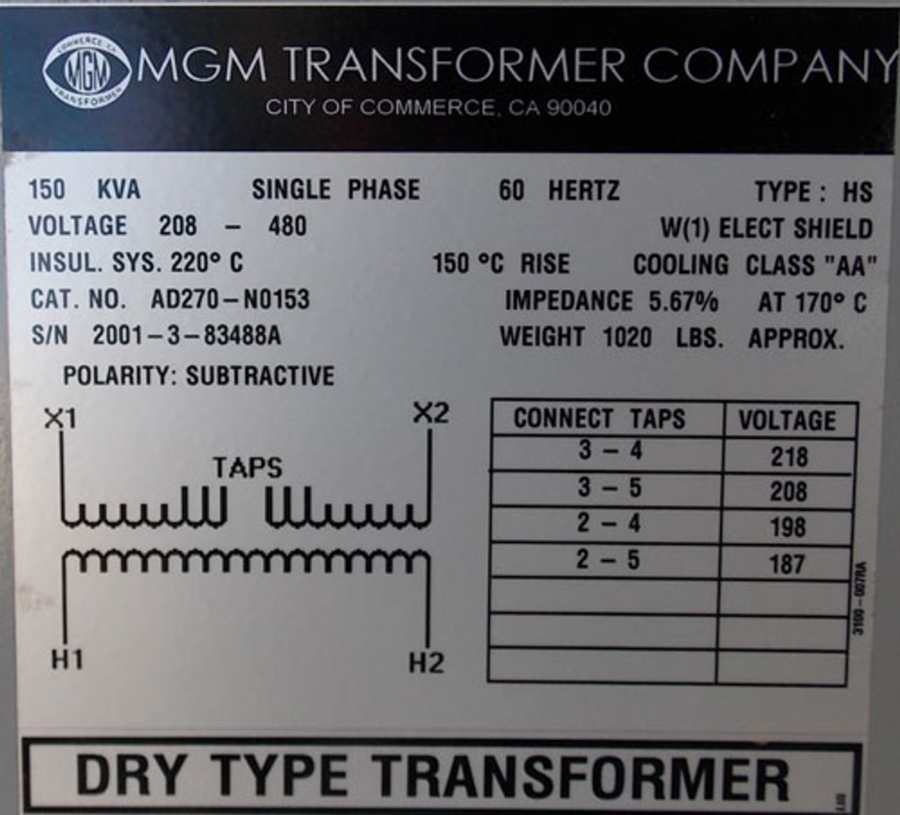 MGM AD270-N0153 150 KVA 208/480V 1PH Type HS Dry Type Transformer N1 - New