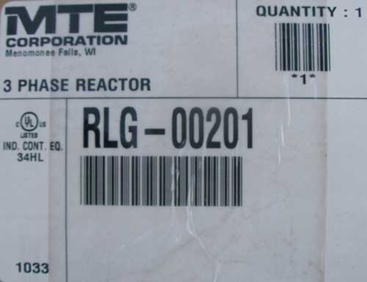 MTE RLG-00201 3 Phase Reactor with MOV 480V Max