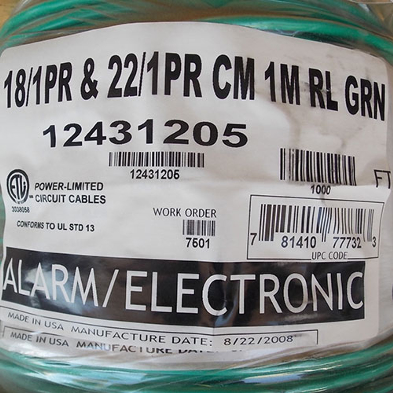Honeywell 1000' Alarm/Electronic Wire 18/1PR & 22/1PR CM 1M RL GRN Wiring for Low Volt - New