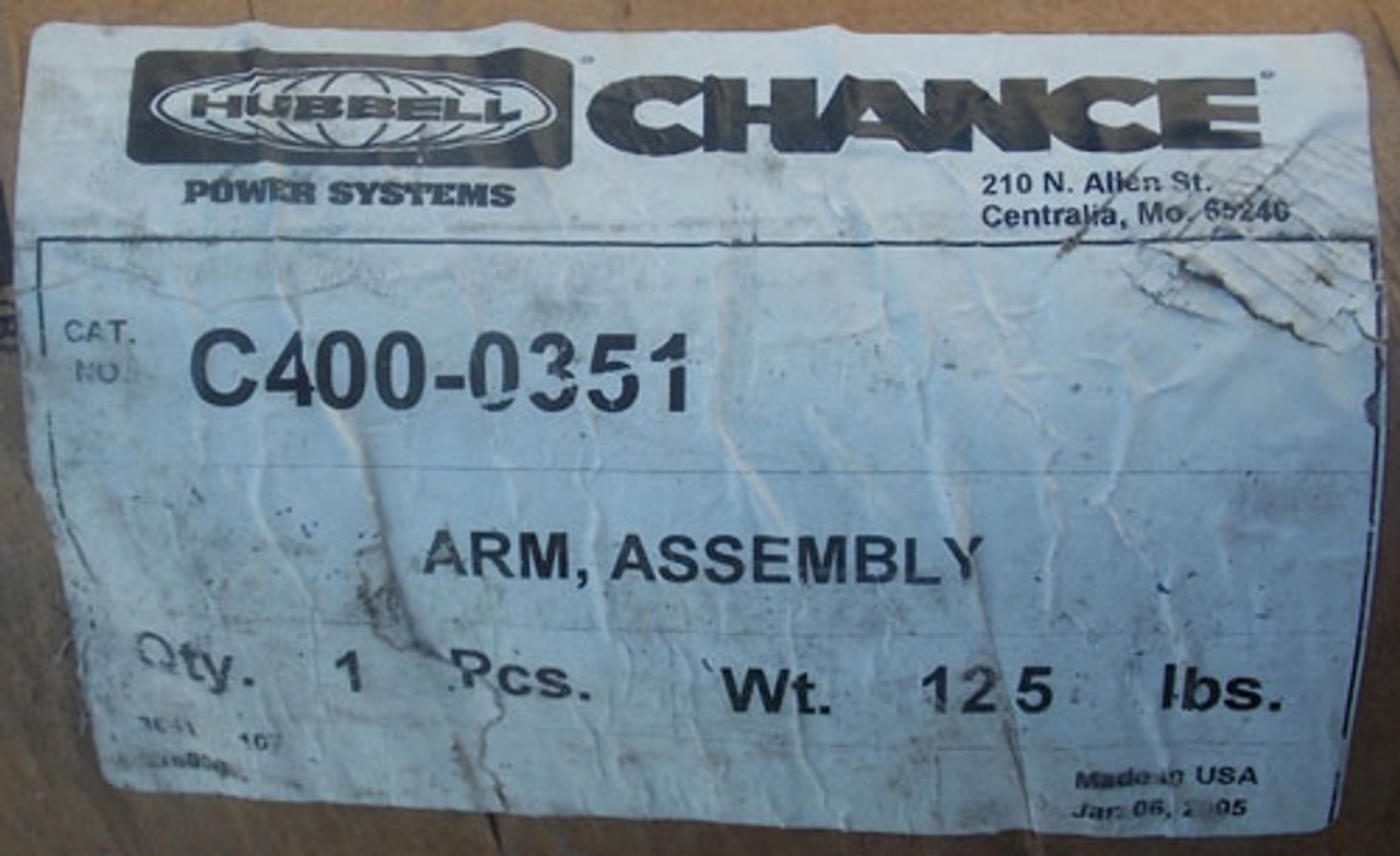 """Hubbell Chance C400-0351 2.5"""" x 10' Horizontal Arm Assembly - New"""