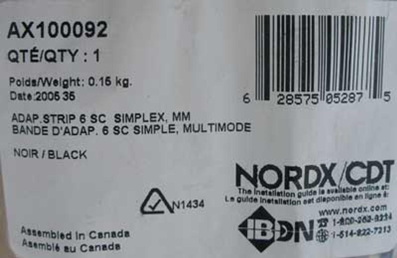 Nordx/CDT AX100092 6 SC Simplex Adaptor Strip