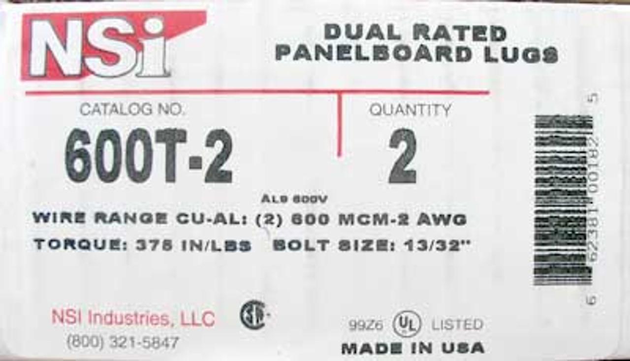 NSi 600T-2 Dual Rated Panelboard Lugs (Lot of 2)