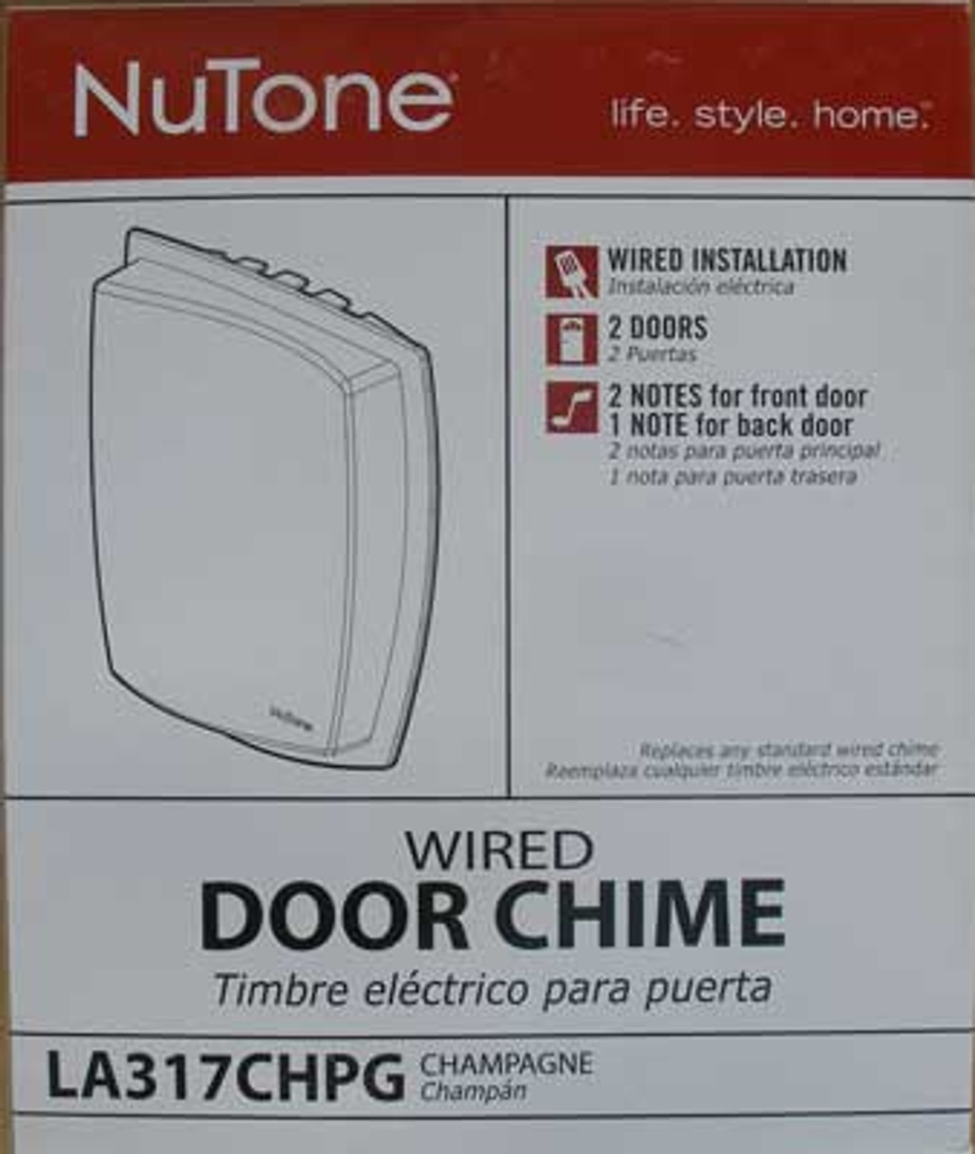 NuTone LA317CHPG Wired Door Chime Champagne - New